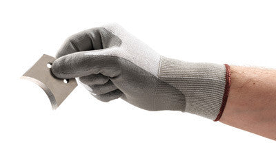 Ansell Size 8 HyFlex Light Duty Cut Resistant Gray Polyurethane Palm Coated Work Gloves With Polyethylene Liner And Knitwrist