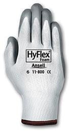 Ansell Size 8 HyFlex Light Duty Multi-Purpose Gray Foam Nitrile Palm Coated Work Glove With White Nylon Liner And Knit Wrist
