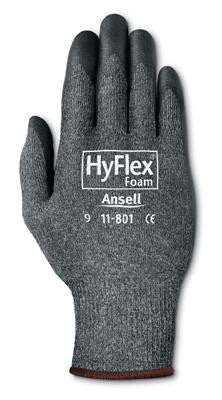 Ansell Size 8 HyFlex Light Duty Multi-Purpose Black Foam Nitrile Palm Coated Work Glove With Dark Gray Nylon Liner And Knit Wrist