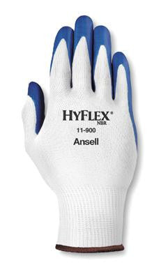 Ansell Size 6 HyFlex Light Duty Multi-Purpose Blue Nitrile Palm Coated Work Glove With White Nylon Liner And Knit Wrist