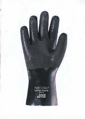 "Ansell Size Large Petroflex PVC Fully Coated Glove With Jersey Lining And 10"" Gauntlet Cuff"