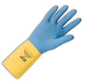 "Ansell Size 7 Blue/Yellow Chemi-Pro Heavy Duty Unsupported 27 Mil Neoprene Over Natural Latex Cotton Flock-Lined 13"" Glove W/Recessed Diamond Grip"