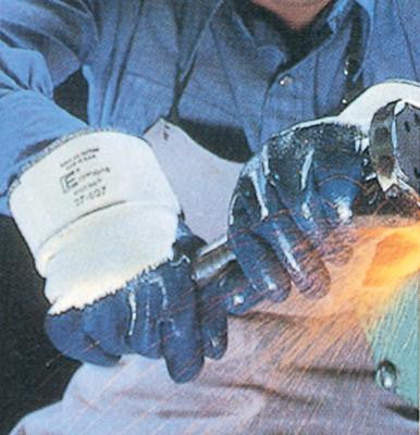 "Ansell Size 8 Hycron Heavy Duty Multi-Purpose Blue Nitrile Palm Coated Work Glove With Jersey Liner And 2 1/2 "" Safety Cuff"