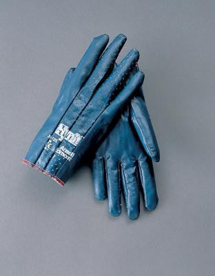 Ansell Size 8 Hynit Medium Duty Multi-Purpose Blue Impregnated Nitrile Coated Work Glove With Interlock Knit Liner, Slip-On Cuff And Perforated Back