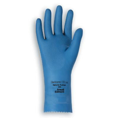 "Ansell Size 10 Natural Blue Light Duty Sky Blue Unsupported 17 Mil Natural Latex Unlined 12"" Glove With Fishscale Grip"