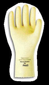 "Ansell Size 8 Canners And Handlers Medium Duty Natural Unsupported 20 Mil Natural Latex Unlined 12"" Glove With Pebble Embossed Grip & Pinked Cuff"