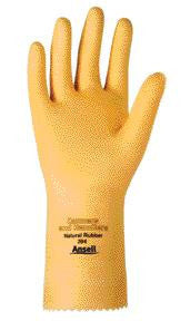 "Ansell Size 10 Canners And Handlers Medium Duty Natural Unsupported 20 Mil Natural Latex Unlined 12"" Glove With Fishscale Grip And Pinked Cuff"