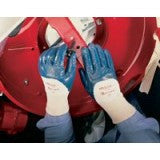 Ansell Size 7 Hylite Medium Duty Multi-Purpose Blue Nitrile Palm Coated Work Glove With Interlock Knit Liner And Knit Wrist