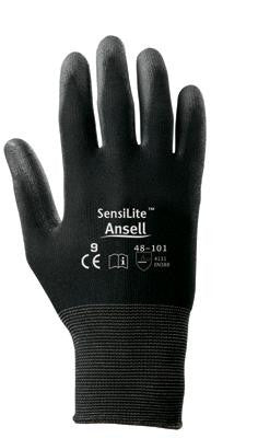 Ansell Size 10 SensiLite Light Duty Black Polyurethane Palm Coated Work Glove With Nylon Liner And Knit Wrist