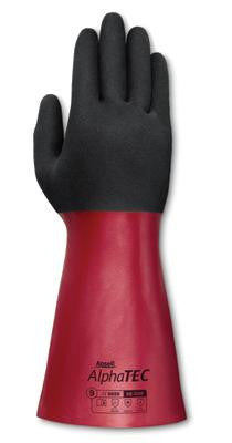 "Ansell Size 9 Black And Red AlphaTEC 12"" Seamless Knit Lined Supported Nitrile Gloves With Ansell Grip Technology Finish And Gauntlet Cuff"