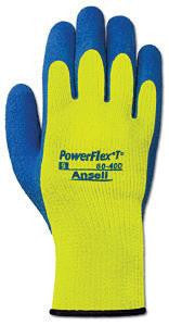 Ansell Size 8 Hi-Viz Yellow And Blue PowerFlex TÎ_ Hi Viz Yellow Rubber Thermal And Terry Cloth Lined Cold Weather Gloves With Knit Wrist And Latex Coating