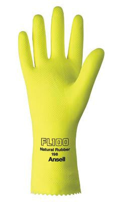 "Ansell Size 10 FL100 Lemon Yellow Unsupported 17 Mil Natural Latex Cotton Flock-Lined Glove With Pattern Grip And 12"" Pinked Cuff"