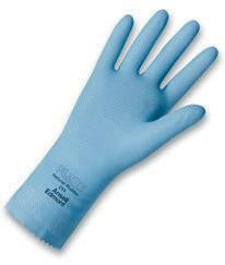 "Ansell Size 8 FL100 Sky Blue Unsupported 17 Mil Natural Latex Cotton Flock-Lined Glove With Pattern Grip And 12"" Pinked Cuff"