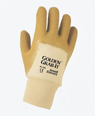 Ansell Size 10 Golden Grab-It II Heavy Duty Multi-Purpose Natural Rubber Latex Palm Coated Work Glove With Jersey Knit Liner And Knit Wrist