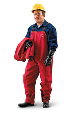 Ansell Large Red Sawyer-Tower CPC Polyester Gore Chemical Splash Bib Overalls