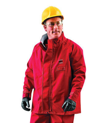 "Ansell 2X Red 30"" Sawyer-Tower CPC Polyester Trilaminate Gore Chemical Protection Jacket"