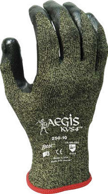SHOWA Best Glove Size 8 Aegis KVS4 13 Gauge Cut Resistant Black Zorb-IT Sponge Nitrile Palm Coated Work Gloves With Yellow Seamless High Performance Stainless Steel Knit Liner And Elastic Knit Wrist