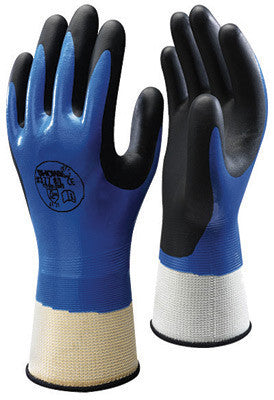 SHOWA Best Glove Size 10 SHOWA  Foam Grip 377 General Purpose Sky Blue Nitrile Fully Dipped Work Gloves With White Seamless Polyester Nylon Liner And Elastic Knit Wrist