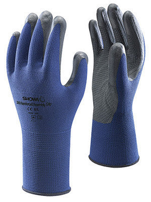 SHOWA Best Glove Size 9 SHOWA  VENTULUS 380 General Purpose Gray Foam Nitrile Palm Coated Work Gloves With Blue Seamless Nylon Liner And Elastic Band Cuff