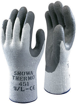SHOWA Best Glove Size 9 Gray ATLAS ThermaFit 451 Seamless Loop-In Terry Cotton Thermal Lined Cold Weather Gloves With Rubber Latex Coated Palms