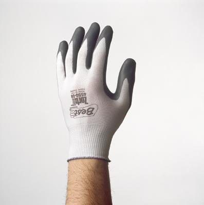 SHOWA Best Glove Size 8 Zorb-IT General Purpose Gray Flat-Dipped Sponge Nitrile Palm Coated Work Gloves With White Seamless Nylon Liner And Knit Wrist