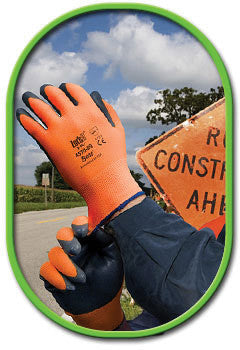 SHOWA Best Glove Size 8 Zorb-IT HV General Purpose Gray Flat-Dipped Sponge Nitrile Palm Coated Work Gloves With High-Viz Orange Seamless Nylon Liner And Elastic Cuff