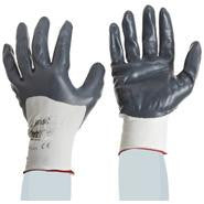SHOWA Best Glove Size 8 Zorb-IT Extra General Purpose Gray Deeper Dipped Sponge Nitrile Palm Coated Work Gloves With White Seamless Nylon Liner And Knit Wrist