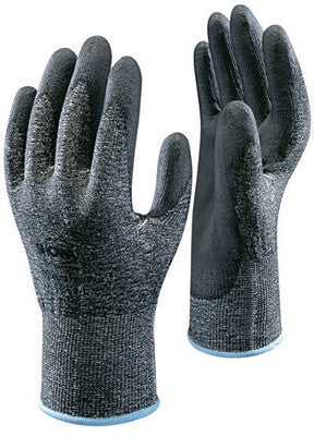 SHOWA Best Glove Size 7 SHOWA  541 13 Gauge Cut Resistant Gray Flat-Dipped Polyurethane Palm Coated Work Gloves With Black High Performance Polyethylene Engineered (HPPE) Liner And Elastic Knit Wrist