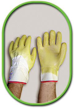 SHOWA Best Glove Size 10 The Original Nitty Gritty General Purpose Yellow Multi- Dipped Natural Rubber Palm Coated Work Gloves With White Cotton Flannel Liner And Knit Wrist