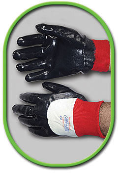 SHOWA Best Glove Size 9 Nitri-Pro Heavy Duty General Purpose Navy Flexible NBR Nitrile Palm Coated Work Gloves With White Cotton Jersey Liner And Red Knit Wrist