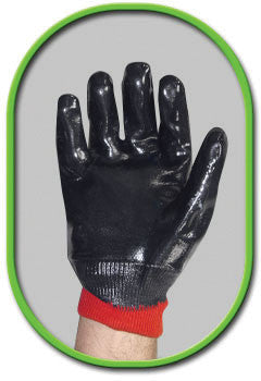 SHOWA Best Glove Size 10 Nitri-Pro Heavy Duty General Purpose Navy Flexible NBR Nitrile Fully Coated Work Gloves With Cotton Jersey Liner And Red Knit Wrist