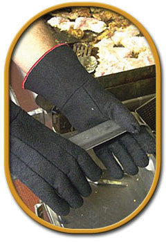 "SHOWA Best Glove Size 8 Black 14"" Char-Guard Non-Woven Lined Heat Resistant Glove With Gauntlet Cuff"