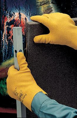 SHOWA Best Glove Large Fuzzy Duck Heavy Duty Yellow Textured PVC Fully Coated Work Gloves With Cotton Jersey Liner And Slip On Cuff