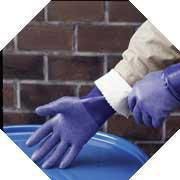 "SHOWA Best Glove Size 8 Blue NSK-24 14"" Cotton Interlock Lined Supported Nitrile Gloves With Rough Finish And Gauntlet Cuff"