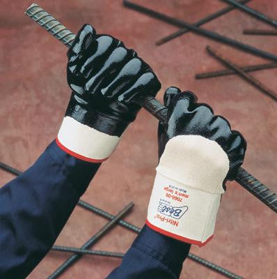 SHOWA Best Glove Size 10 Nitri-Pro Heavy Duty General Purpose Navy Flexible NBR Nitrile Palm Coated Work Gloves With White Cotton Jersey Liner And Reinforced Safety Cuff
