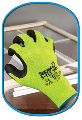 SHOWA Best Glove Size 8 S-TEX 300 Cut Resistant Black Natural Rubber Palm Coated Work Gloves With Seamless Hi-Viz Yellow Hagane Coil Fiber Liner