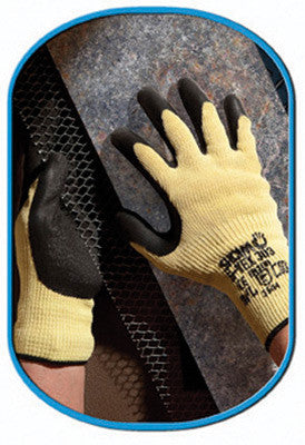 SHOWA Best Glove Size 8 S-TEX 303 Cut Resistant  Black Natural Rubber Palm Coated Work Gloves With Yellow Dupont Kevlar And Hagane Coil Fiber Liner