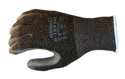 SHOWA Best Glove Size 6 SHOWA  S-TEX Lightweight Cut Resistant Black Polyurethane Palm And Fingertip Coated Work Gloves With Gray Hagane Coil Liner