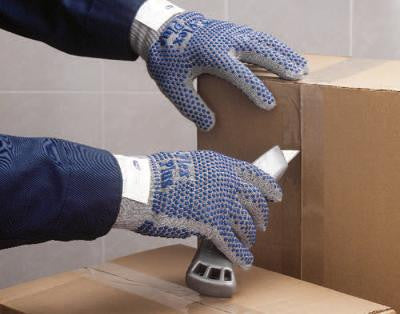 SHOWA Best Glove Size 9 Light Gray T-Flex Plus 13 Gauge Dyneema Knit Seamless Cut Resistant Gloves With Lycra-Spandex And Thermax Liner, Dot Coating  And AlphaSan Antimicrobial Treatment