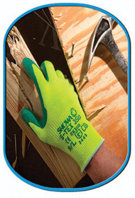 SHOWA Best Glove Size 8 S-TEX 350 Cut Resistant Green Nitrile Palm Coated Work Gloves With Seamless Hi-Viz Yellow Hagane Coil Fiber Liner
