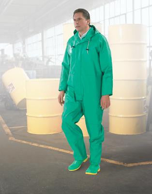 Bata/Onguard Medium Green Chemtex 3.5 mil PVC On Nylon Polyester Chemical Protection Coverall With Front Zipper Closure, Attached Hood And Inner Cuffs