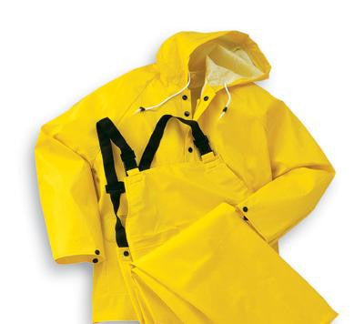 Onguard Industries 2X Yellow Webtex .65 mm Polyester And PVC 3 Piece Rain Suit (Includes Jacket With Front Snap Closure, Detached Hood And No Fly Bib Pants)