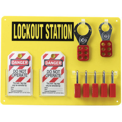 Brady Yellow Acrylic 5 Lock Lockout Center (Includes 5 Safety Locks, 2 Hasps And 12 Lockout Tags)