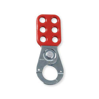 "Brady Red Vinyl-Coated High Tensile Steel Lockout Hasps With 1 1/2"" Diameter Jaws"