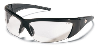 Crews ForceFlex 2 Safety Glasses With Black Thermo Plastic Urethane (TPU) Frame With Black Rubber Inserts And Clear Polycarbonate Duramass Anti-Scratch Lens