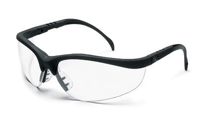 Crews Klondike Safety Glasses With Black Frame And Clear Polycarbonate Duramass Anti-Scratch Lens