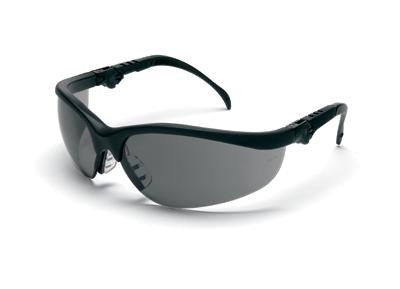 Crews LuminatorSafety Glasses With Reflective Black Frame And Gray Polycarbonate Duramass Anti-Scratch Lens