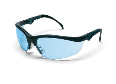 Crews Klondike Plus Safety Glasses With Black Frame And Light Blue Polycarbonate Duramass Anti-Scratch Lens