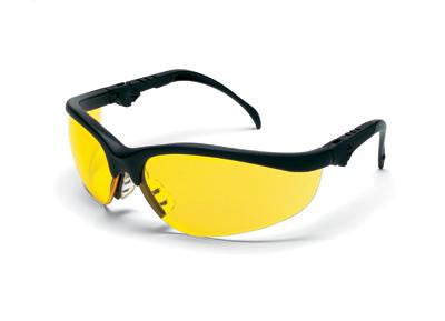 Crews Klondike Plus Safety Glasses With Black Frame And Amber Polycarbonate Duramass Anti-Scratch Lens