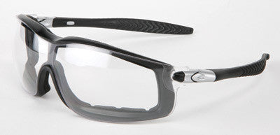 Crews Rattler Safety Glasses With Black Frame And Clear Duramass Anti-Scratch Anti-Fog Lens